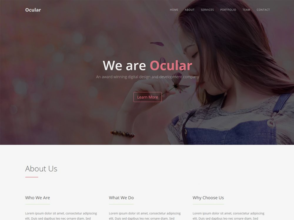 Ocular - One Page Bootstrap template - Bootstrap Templates